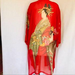 Silk georgette kimono OS red EUC